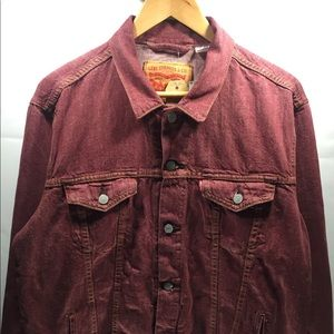 Men's Levis Burgundy Denim Trucker Jean Jacket L